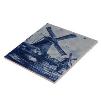 Antique Delft Blue Tile - Windmills by the Water