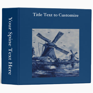 Antique Delft Blue Tile - Windmills by the Water 3 Ring Binder