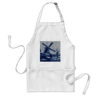 Antique Delft Blue Tile - Windmills by the Water Adult Apron