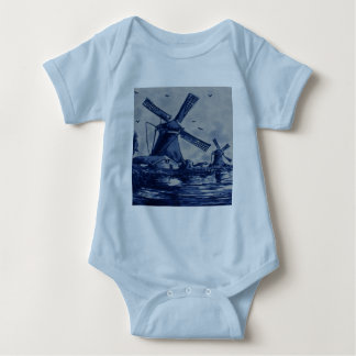 Antique Delft Blue Tile - Windmills by the Water Baby Bodysuit