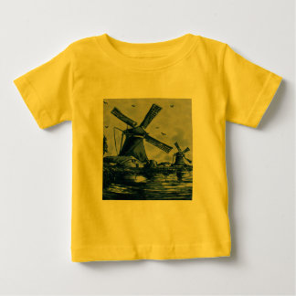 Antique Delft Blue Tile - Windmills by the Water Baby T-Shirt