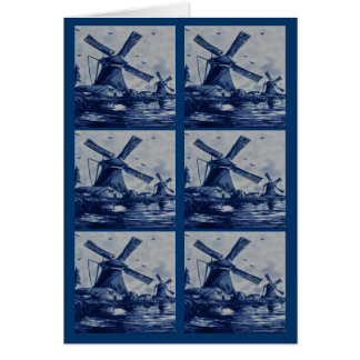 Antique Delft Blue Tile - Windmills by the Water Card