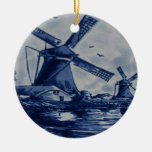 Antique Delft Blue Tile - Windmills by the Water Double-Sided Ceramic Round Christmas Ornament