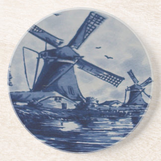 Antique Delft Blue Tile - Windmills by the Water Drink Coaster