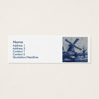 Antique Delft Blue Tile - Windmills by the Water Mini Business Card
