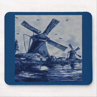 Antique Delft Blue Tile - Windmills by the Water Mouse Pad