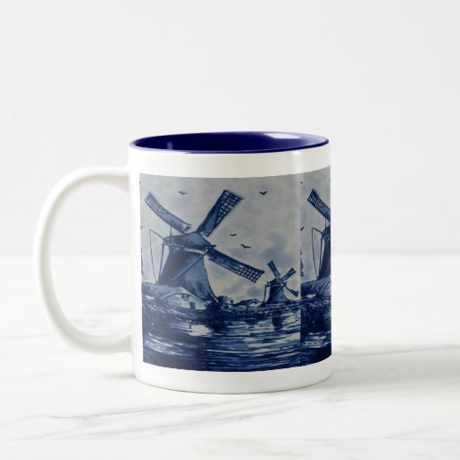 Antique Delft Blue Tile - Windmills by the Water Two-Tone Coffee Mug