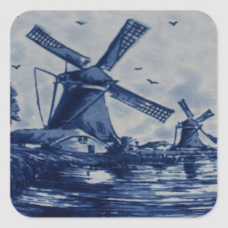 Antique Delft Blue Tile - Windmills by the Water Square Sticker
