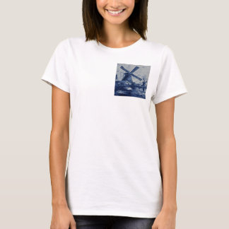 Antique Delft Blue Tile - Windmills by the Water T-Shirt
