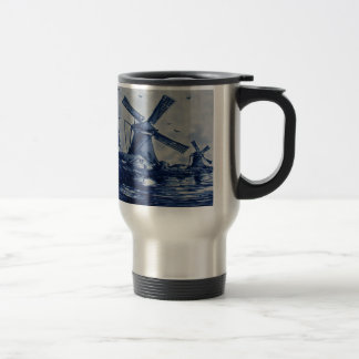 Antique Delft Blue Tile - Windmills by the Water Travel Mug