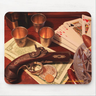 Antique derringer pistol in gambling set up photo mouse pad