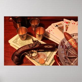 Antique derringer pistol in gambling set up poster