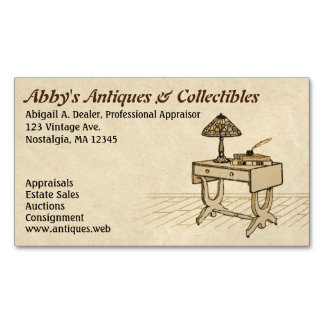 Antique Desk with Lamp, Books and Pen Business Card Magnet