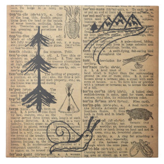 Antique Dictionary Page with Doodles Sepia Black Ceramic Tile