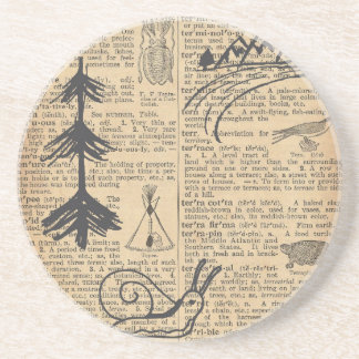 Antique Dictionary Page with Doodles Sepia Black Drink Coaster