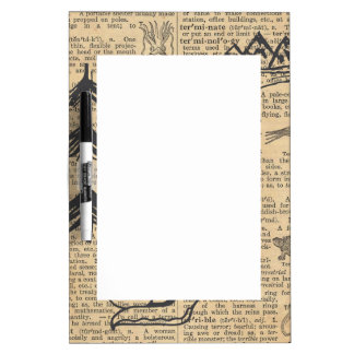 Antique Dictionary Page with Doodles Sepia Black Dry-Erase Board