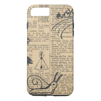 Antique Dictionary Page with Doodles Sepia Black iPhone 7 Plus Case