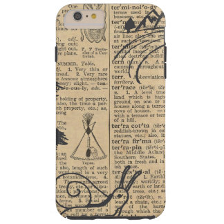 Antique Dictionary Page with Doodles Sepia Black Tough iPhone 6 Plus Case