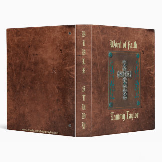 Antique Distressed Print W/Cross Study Notebook 3 Ring Binder