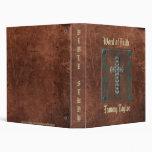 Antique Distressed Print W/Cross Study Notebook Binders