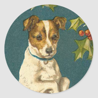 Antique Dog Christmas sticker