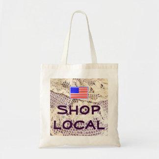 Antique Doily Shop Local USA Flag Modern Design Budget Tote Bag