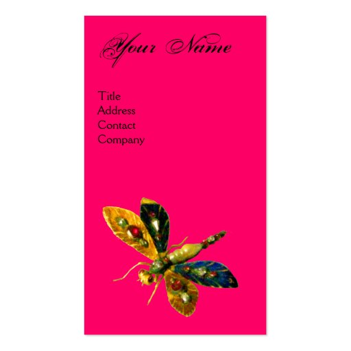 ANTIQUE DRAGONFLY JEWEL MONOGRAM ;Black Fuchsia Business Card