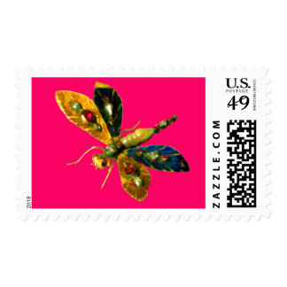 ANTIQUE DRAGONFLY JEWEL ,Pink Fuchsia Stamp