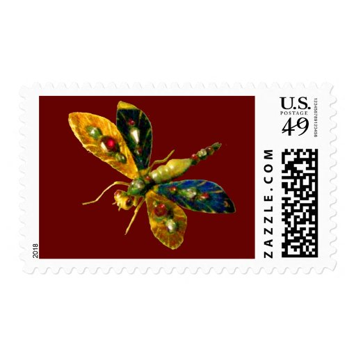 ANTIQUE DRAGONFLY JEWEL  red Postage
