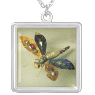ANTIQUE DRAGONFLY JEWEL SILVER PLATED NECKLACE