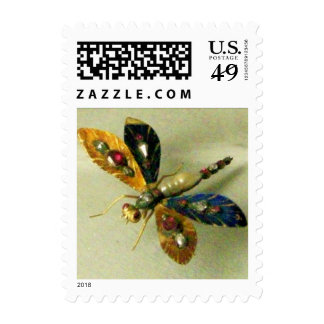 ANTIQUE DRAGONFLY JEWEL White Grey Stamps