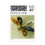 ANTIQUE DRAGONFLY JEWEL White Grey Postage Stamp