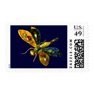 ANTIQUE DRAGONFLY JEWEL ,yellow blue Stamp