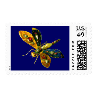 ANTIQUE DRAGONFLY JEWEL ,yellow blue Postage