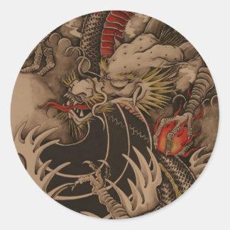 Antique dragoon classic round sticker