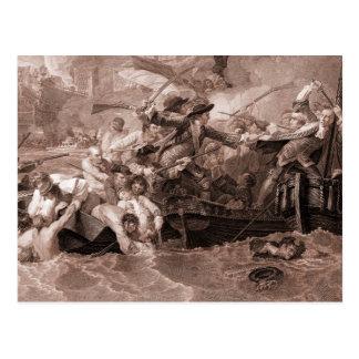 Antique drawing, engraving, The Battle at La Hogue Postcard