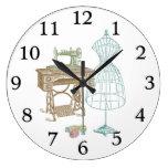 Antique Dressmaker Kit Illustration Large Clock