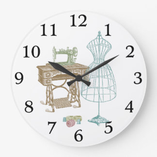 Antique Dressmaker Kit Illustration Large Clock