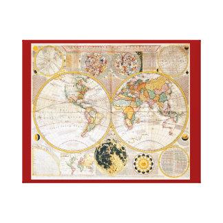 Antique Dual Hemisphere World Map Canvas Print