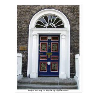 Antique Dublin Doorway, Merrion Square Postcard