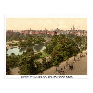 Antique Dublin park Stephens Green Postcard