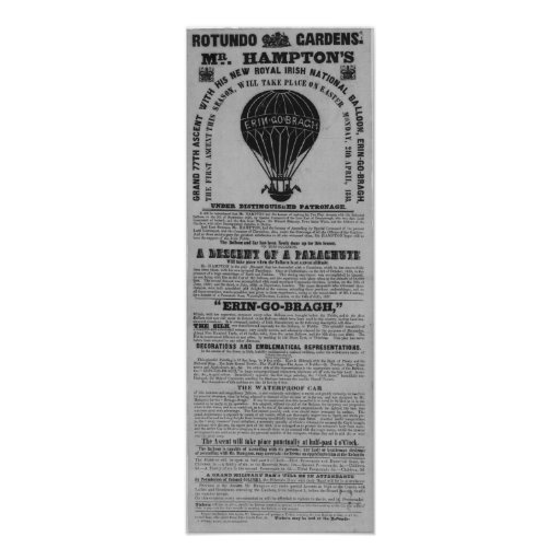 Antique Dublin Rotunda Baloon ascent Posters