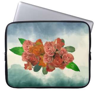 Antique dusty peach roses on blue watercolor laptop sleeve