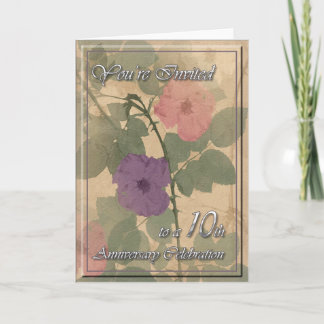 Antique Dusty Rose 10th Anniversary Card
