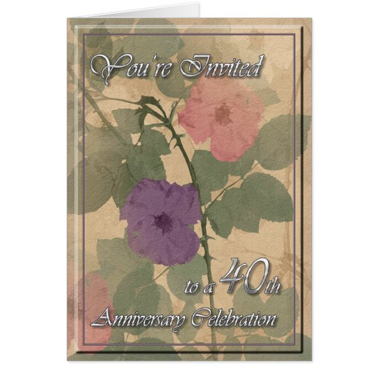 Antique Dusty Rose 40th Anniversary Card