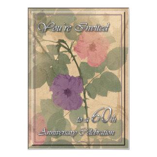 "Antique Dusty Rose 60th Anniversary 5"" X 7"" Invitation Card"