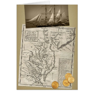 Antique East Coast Map birthday card