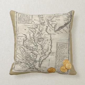 Antique East Coast Map Throw Pillow