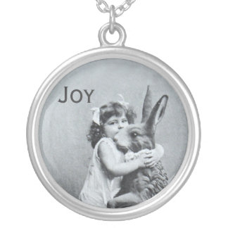 Antique Easter Bunny Girl Post Card Joy Silver Plated Necklace
