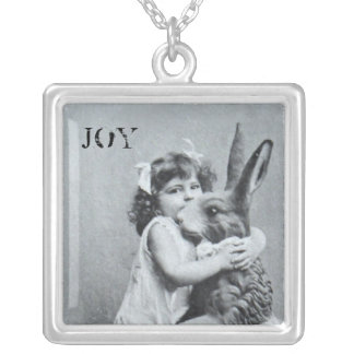 Antique Easter Bunny Joy Post Card Silver Plated Necklace